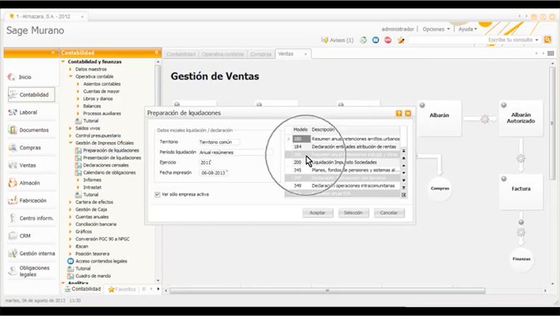 pantalla gestion de ventas sage 200 advanced